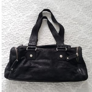 Calvin Klein black metallic nubuck duffle bag